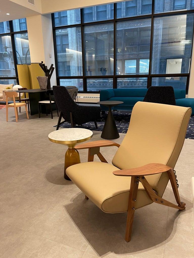 Italian Zanotta Gilda Leather Lounge Recliner  Homage to Carlo Mollino For Sale