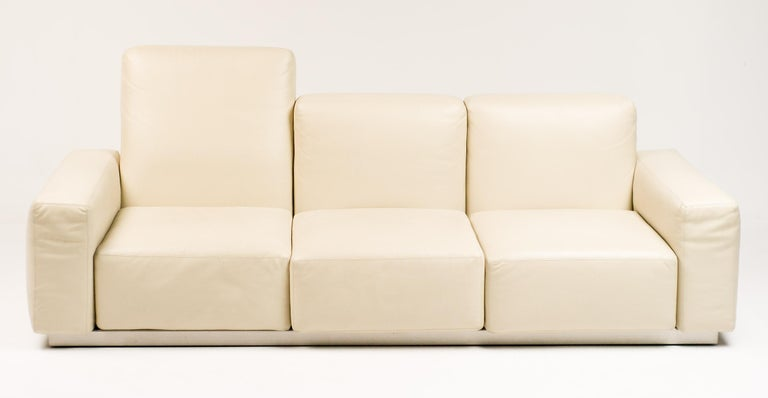 "Zanotta ""Upndown"" sofa in superior quality cream leather.
