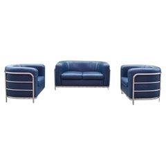Zanotta Onda Ensemble Living Room Set Sofa & 2 Armchair Blue Leather