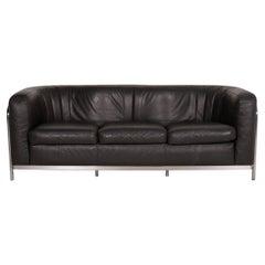 Zanotta Onda Leather Sofa Black Three-Seat Couch