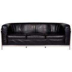 Zanotta Onda Leather Sofa Black Three-Seat Gionatan de Pas Couch