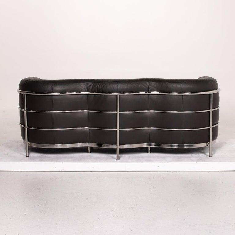 Zanotta Onda Leather Sofa Black Three-Seat Couch For Sale 4