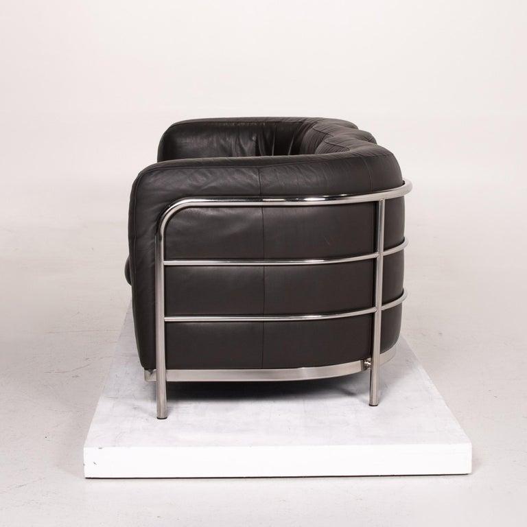 Zanotta Onda Leather Sofa Black Three-Seat Couch For Sale 5
