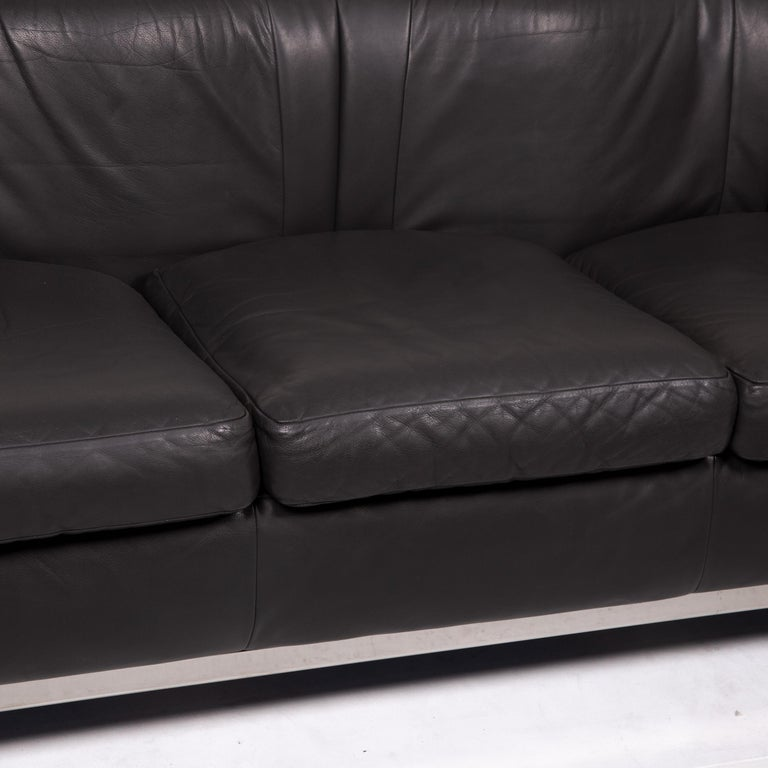 Modern Zanotta Onda Leather Sofa Black Three-Seat Couch For Sale