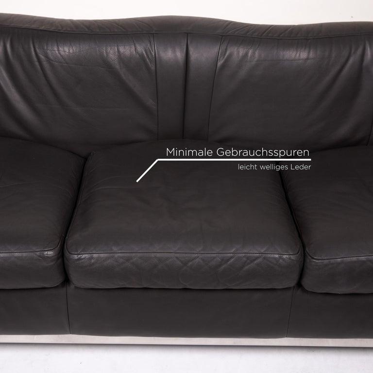 Italian Zanotta Onda Leather Sofa Black Three-Seat Couch For Sale