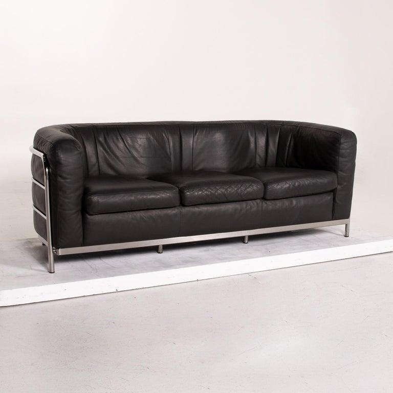 Zanotta Onda Leather Sofa Black Three-Seat Couch For Sale 1