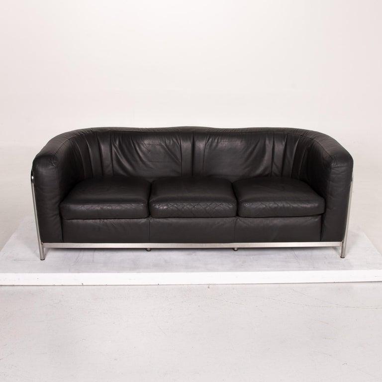 Zanotta Onda Leather Sofa Black Three-Seat Couch For Sale 2