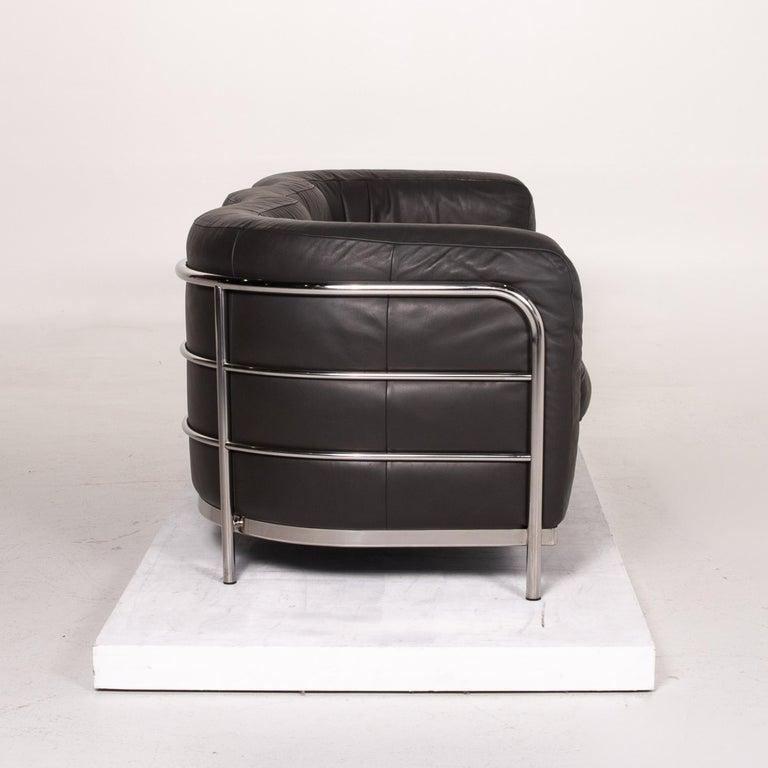 Zanotta Onda Leather Sofa Black Three-Seat Couch For Sale 3