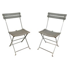 Zanotta, Pair of Grey Leather and White Lacquered Metal Folding Chairs, Italian