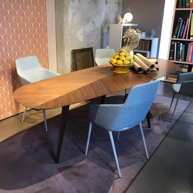 Zanotta Walnut Tweed Table by Garcia Cumini For Sale 1