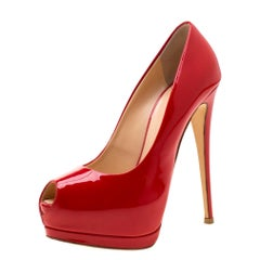 Zanotti Red Patent Leather Peep Toe Platform Pumps Size 37