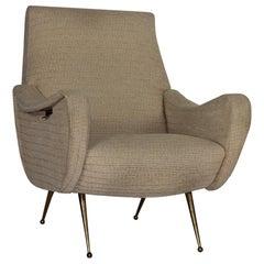 Zanuso Midcentury Lady Chair Italy 1960s, Brass Legs, Add Value