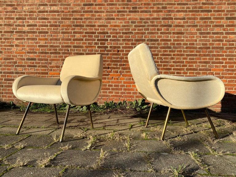 Italian Zanuso Mohair 'Baby' Lounge Chairs, Early Wood Frames, Brass Legs, Arflex, 1951 For Sale