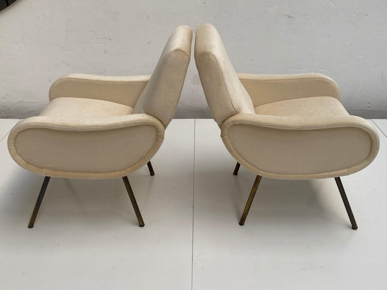 Mid-20th Century Zanuso Mohair 'Baby' Lounge Chairs, Early Wood Frames, Brass Legs, Arflex, 1951 For Sale