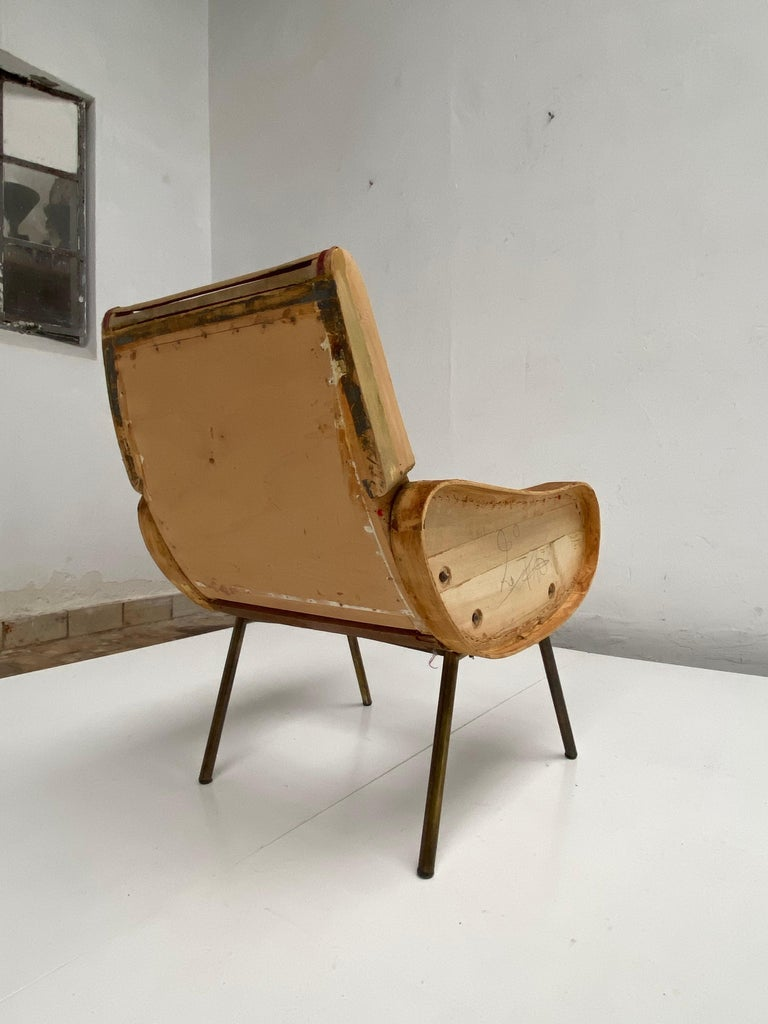 Zanuso Mohair 'Baby' Lounge Chairs, Early Wood Frames, Brass Legs, Arflex, 1951 For Sale 6
