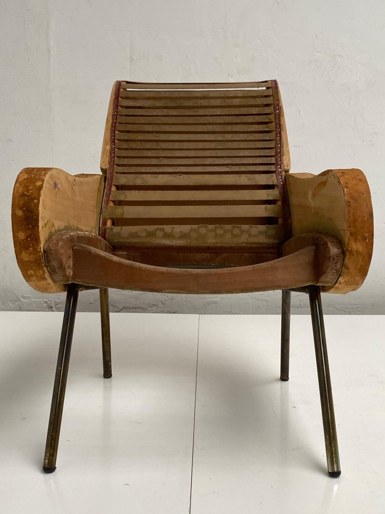 Zanuso Mohair 'Baby' Lounge Chairs, Early Wood Frames, Brass Legs, Arflex, 1951 For Sale 2