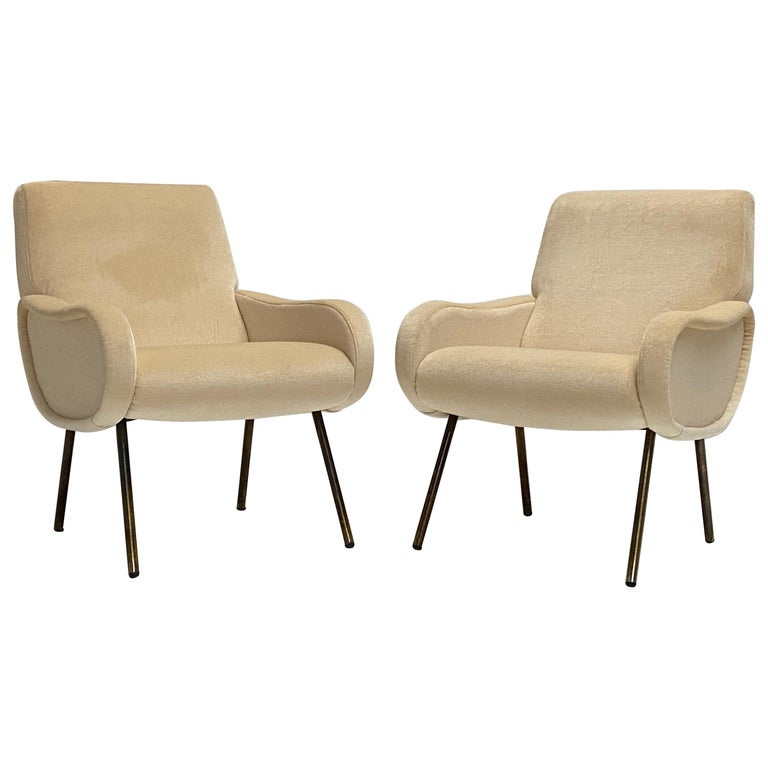 Zanuso Mohair 'Baby' Lounge Chairs, Early Wood Frames, Brass Legs, Arflex, 1951 For Sale