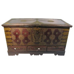 Zanzibar Mid-19th Century Studded Rosewood Chest with 3 Drawers