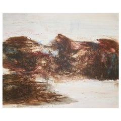 """Zao Wou-Ki Chinese/French Abstract Artist Color Etching, 1968, """"Moving Forms"""""""