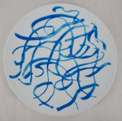 Abstract : Blue Lines - Screenprint of Porcelain Plate (Bernardaud)