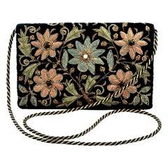 Zardozi Floral Embroidered Black Velvet Shoulder Bag circa 1950s