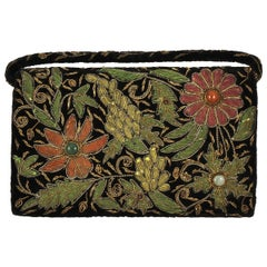 Zardozi Floral Embroidered Velvet Handbag circa 1950s