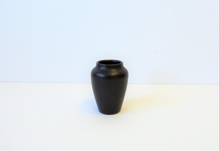 A very beautiful and rare antique Arts & Crafts Zark matte pottery vase, circa early 20th century. A matte very dark red-brown exterior and a blue-green interior. Exterior is matte, and interior is glazed. See image #8, signed and imprinted with