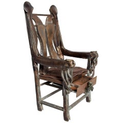 Zavala Brutalist Iron Throne Arm Chair with Drawer in Bronze & Leather, 1970s