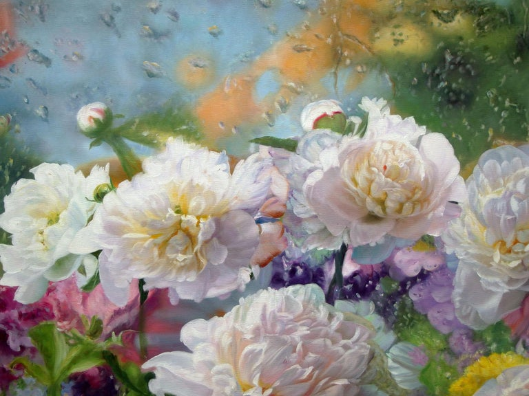 After The Rain Still Life With Peonies Oil painting - Painting by Zbigniew Kopania