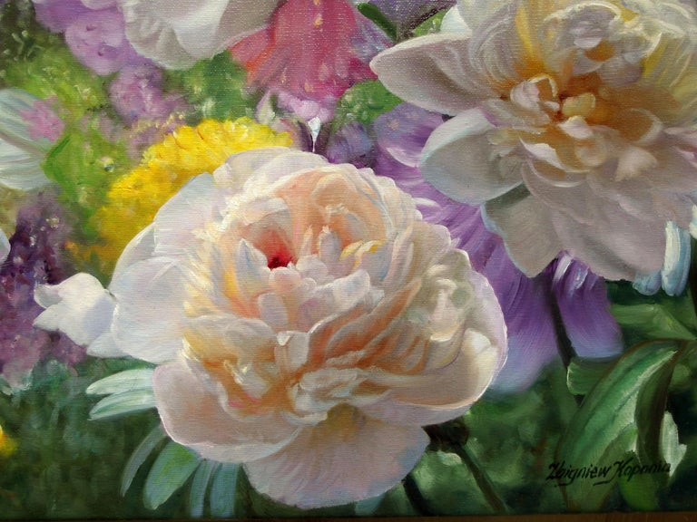 After The Rain Still Life With Peonies Oil painting - Realist Painting by Zbigniew Kopania