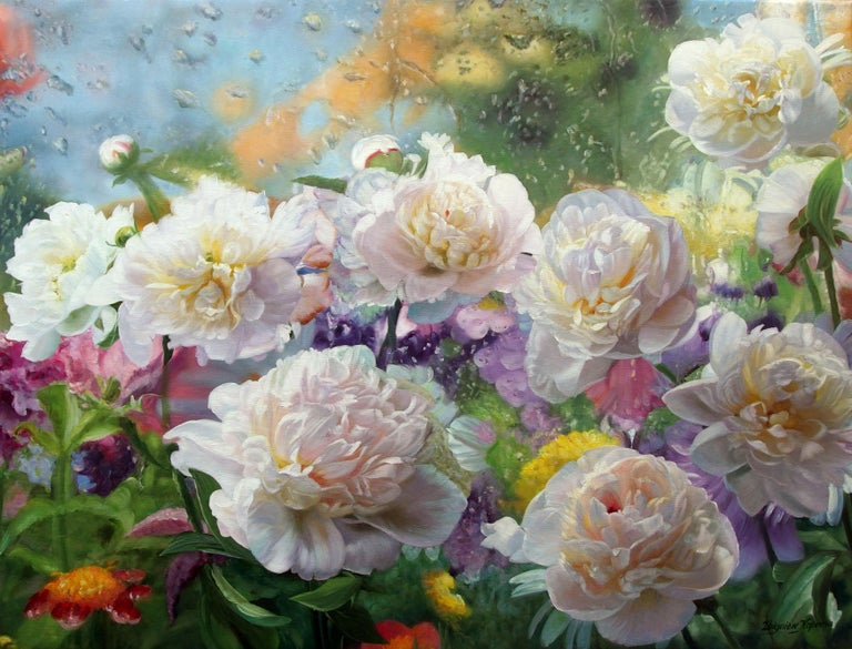 Zbigniew Kopania Figurative Painting - After The Rain Still Life With Peonies Oil painting