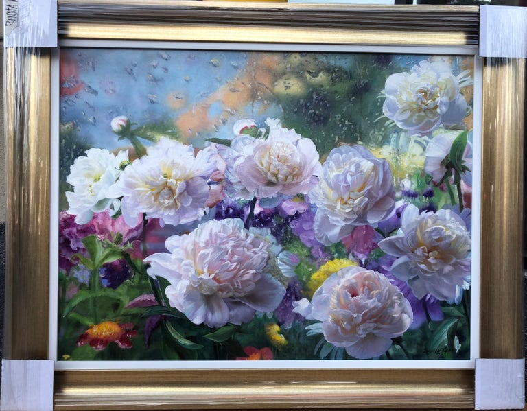 After The Rain Still Life With Peonies Oil painting - Gray Figurative Painting by Zbigniew Kopania