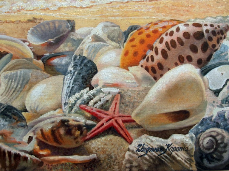 Sea Shells On The Beach - Realist Painting by Zbigniew Kopania