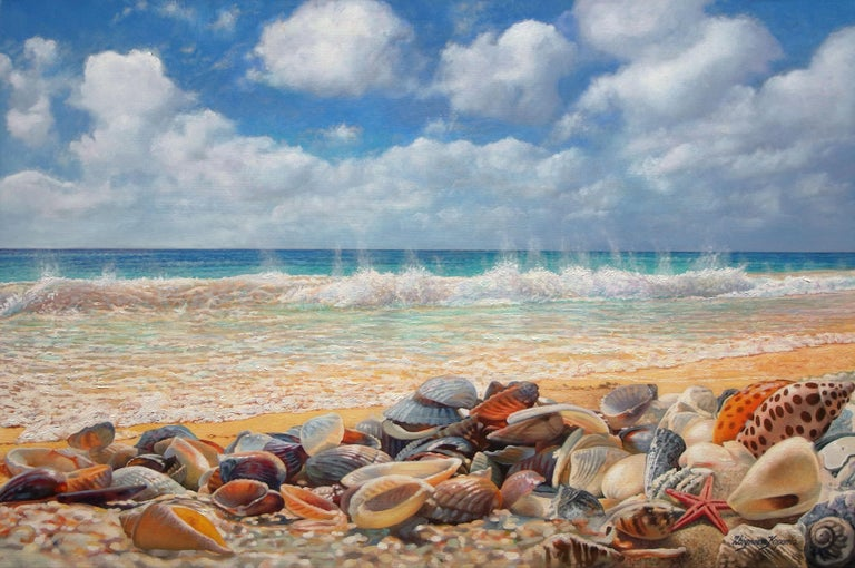 Zbigniew Kopania Landscape Painting - Sea Shells On The Beach