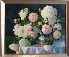 Still Life Peonies in a Silver Vase