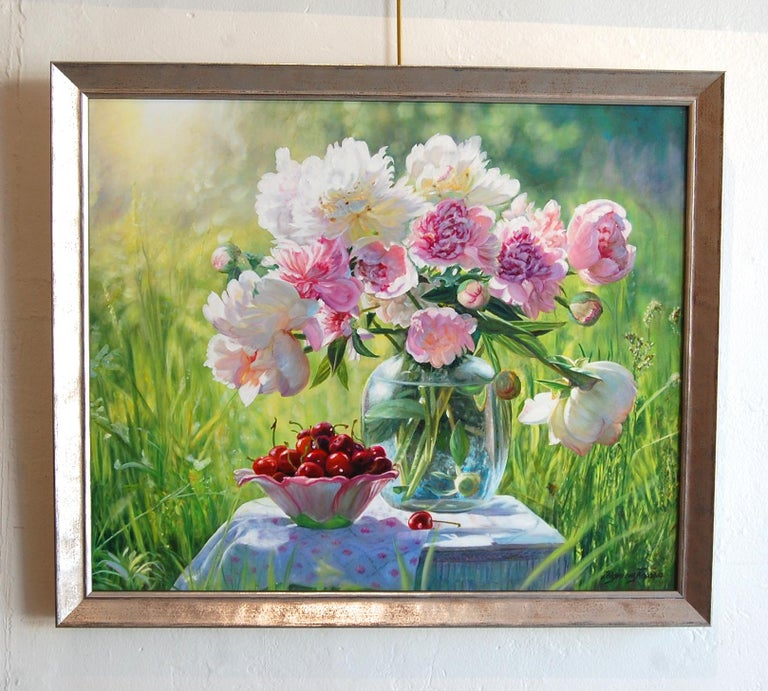 Still Life Pink Peonies with Cherries - Painting by Zbigniew Kopania