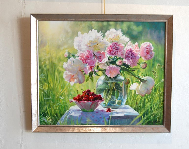 Still Life Pink Peonies with Cherries - Realist Painting by Zbigniew Kopania