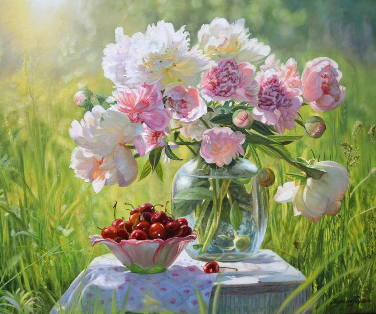 Zbigniew Kopania Still-Life Painting - Still Life Pink Peonies with Cherries
