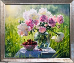 Peonies with Cherries