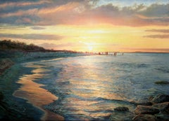 Warm Sunset Seascape Contemporary Oil Painting