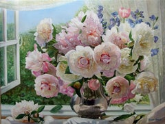 White And Pink Peonies Still Life Oil Painting
