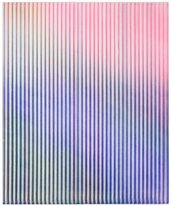 Display No 23 - Striped, geometric, white and pink, minimal, abstract painting