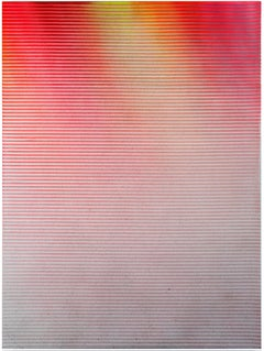 Display No 30 - Striped, geometric white and pink abstract painting