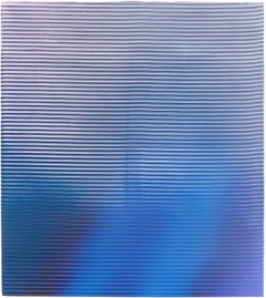Display No 34 - Striped, geometric, white and blue, minimal, abstract painting