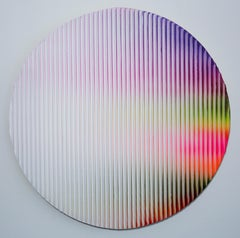 Display No 37 - Striped, round, geometric white and pink abstract painting