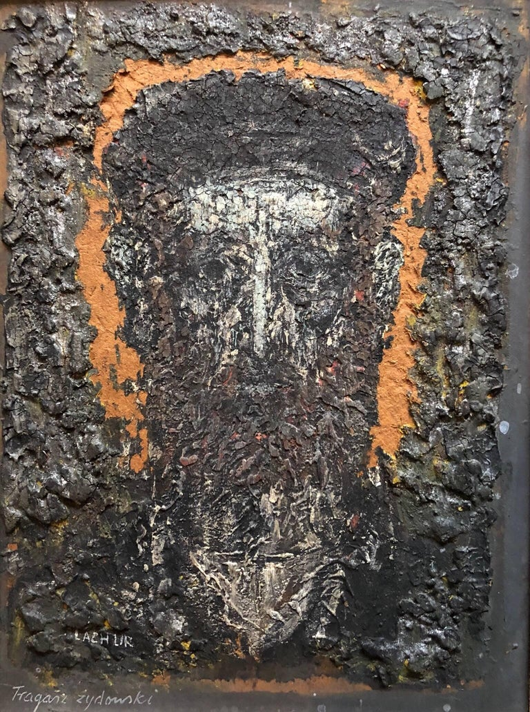 Expressionist Polish Rabbi Portrait Oil Painting Zdzisława Lachur - Black Portrait Painting by Zdzislaw Lachur