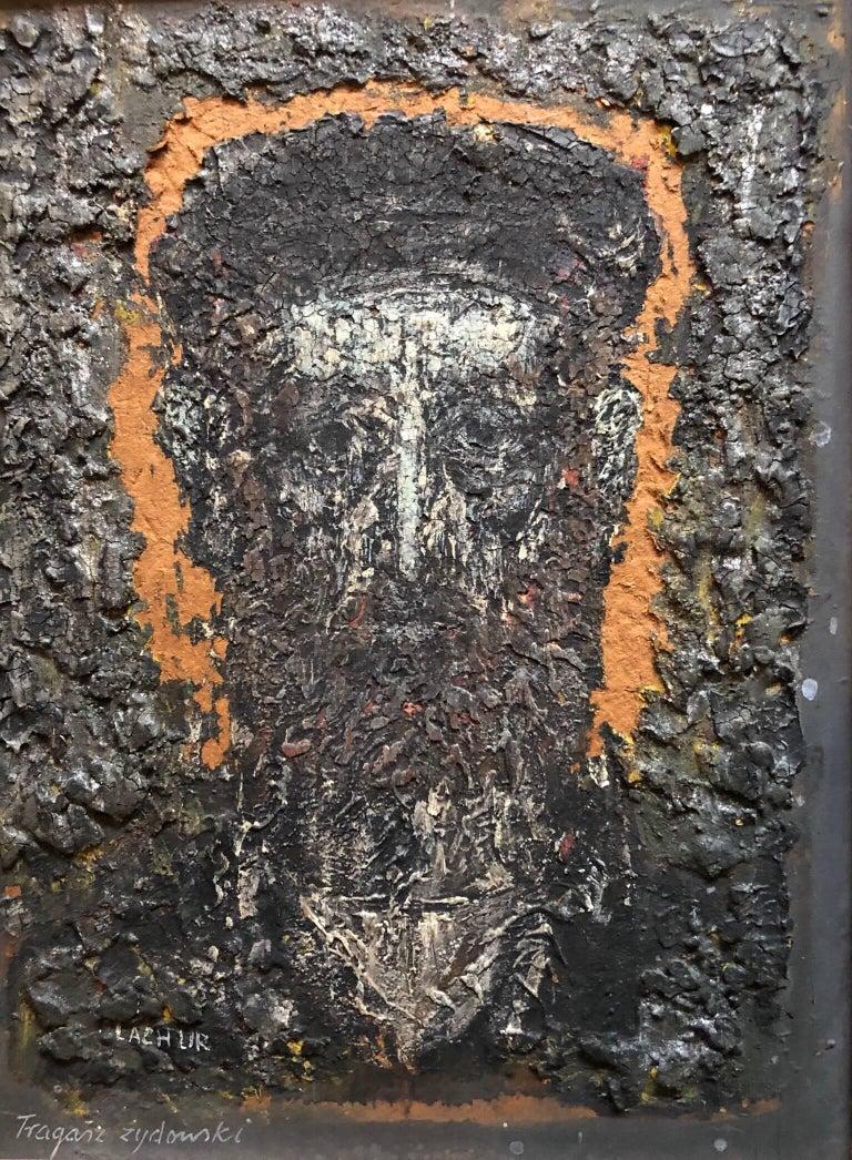Zdzislaw Lachur  Portrait Painting - Expressionist Polish Rabbi Portrait Oil Painting Zdzisława Lachur