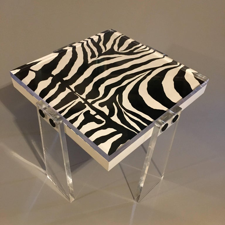 American Original/Signed/Handmade Acrylic Gallery Table by Known Artist Steve McElroy For Sale