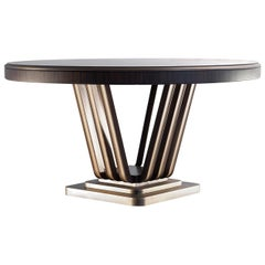 Zebra and Brass Dining Table