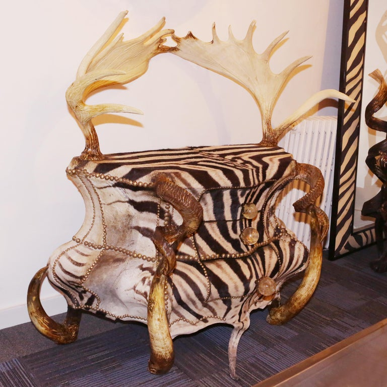 French Zebra and Elk Chest of Drawers For Sale